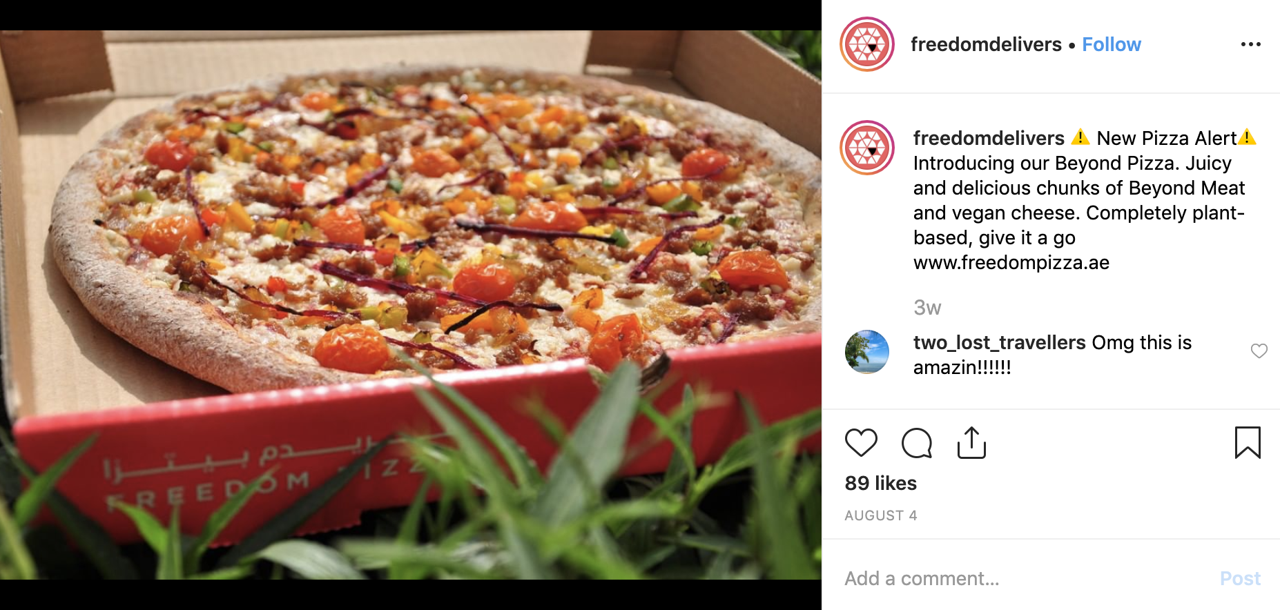 Freedom Pizza Beyond Meat